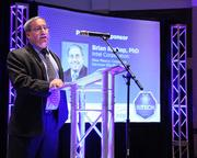 Brian Rashap, Intel's New Mexico corporate services site manager, helped Albuquerque Business First Publisher Ian Anderson introduce each presenting honoree during the ceremony. Intel was the event's sponsor.