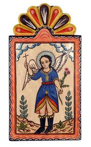 Guardian Angel Retablo by Charlie Carrillo is an example of New Mexico art that is representative of some mediums and types that will be considered for the New Mexico Centennial.