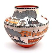 Acoma Pot with Train by Joseph and Barbara Cerno is representative of the work that will be considered for the New Mexico Centennial.