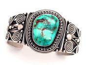 Bracelet with Blue Gem Turquoise by Calvin Martinez is representative of work that will be considered for the New Mexico Centennial.
