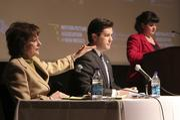 Left to right: Sen. Sue Wilson Beffort, Rep. Brian Egolf and moderator Gwyneth Doland