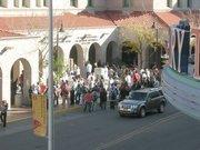 The crowd begins to gather outside the Alvarado Transportation Center.