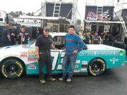 Sacred Power's David Melton (left) and driver A.J. Russell at the New Hampshire Motor Speedway