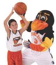 The New Mexico Thunderbirds were purchased by the Cleveland Cavaliers. They now play as the Canton Charge. Pictured is the mascot with a child during a charity event.