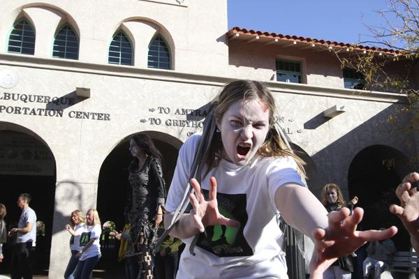 """""""Zombies"""" were in full force Friday at the Alvarado Transportation Center."""