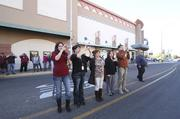 The flash mob attracted downtown spectators.