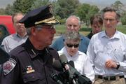 The Las Conchas fire attracted national media attention. Pictured is Los Alamos Chief of Police Wayne Torpy addressing the media on June 30.