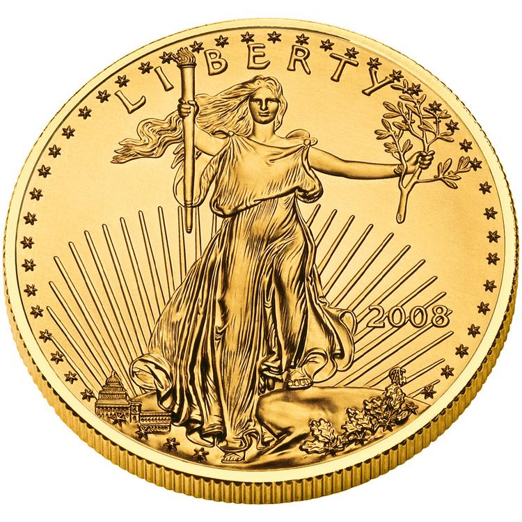 The U.S. Mint ran out of its smallest American Eagle gold coin after demand surged following the biggest drop in futures in three decades.