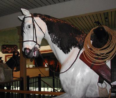 A horse replica sits in the museum's gift shop.