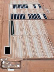 An aerial view of Sapphire Energy's Green Crude Farm, which is now operational in Columbus, NM.