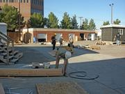 Students in the carpentry part of the SkillsUSA competition had to build a platform with fully wired and plumbed walls.