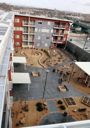 A view of the courtyard, taken from the roof.