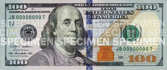 The bill, which incorporates new security features such as a blue, 3-D security ribbon, will be easier for the public to authenticate but more difficult for counterfeiters to replicate, the Federal Reserve said in a statement.