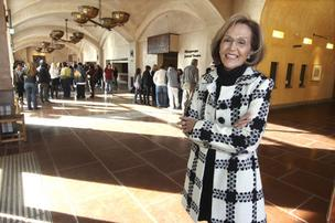 National Hispanic Cultural Center Foundation President and CEO Clara Apodaca in the lobby of the center's Roy E. Disney Center for Performing Arts.