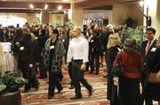 Attendees mingle at the Best Places to Work breakfast at Hotel Albuquerque.