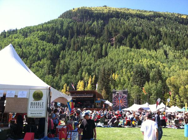 Two New Mexico breweries snagged spots in Paste magazine's 10 Best Beers at Telluride Blues & Brews Festival 2012. Pictured is the Marble Brewery booth at the festival.