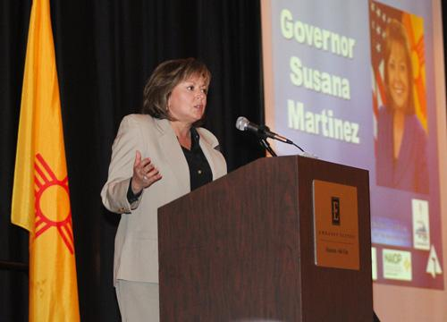 Martinez speaks in Albuquerque on Monday.
