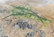 An artist's rendering of an arial view of the site's master plan.