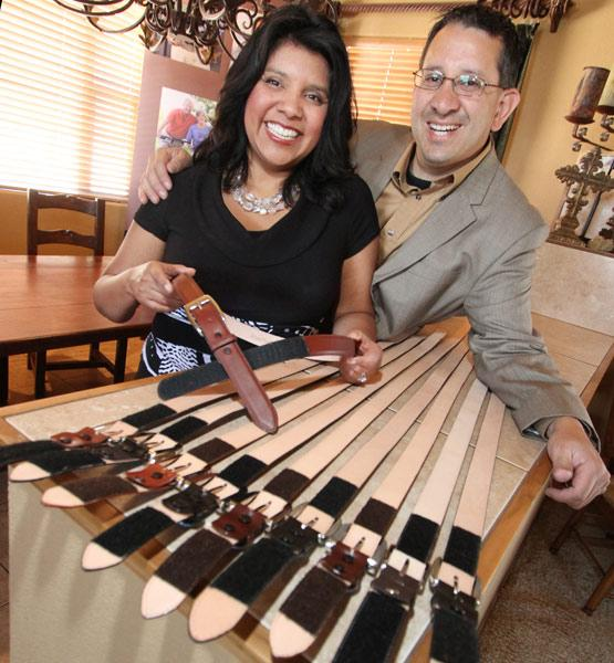 Patricia and Gavin Pantoja display their AbleBelts, which are produced in three colors: black. brown and cognac.