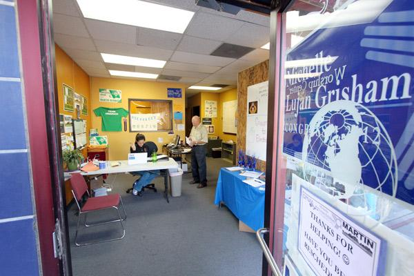 Campaign workers talk at the Democratic Party's Albuquerque Coordinated Campaign Office in the northeastern part of the city.
