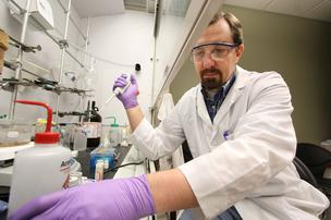University of New Mexico postdoctoral research scientist Tom Corbitt is researching an antimicrobial polymer that's being commercialized by BVB Solutions LLC.