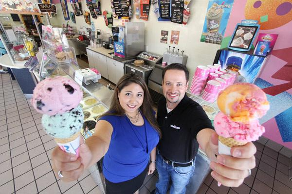 Danielle and Chris Brennan put their banking skills to work when they elected to buy a well-known franchise name, in this case, Baskin-Robbins. Chris says processing personal and commercial bank loans gave him perspective.