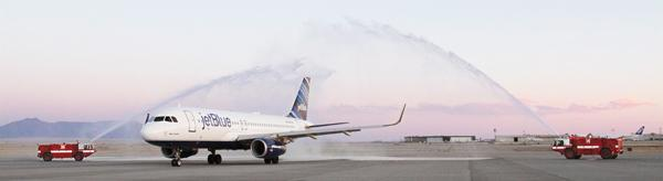 There was plenty of fanfare, including water cannons, for the landing of JetBlue Airways' first flight to the Albuquerque International Sunport from New York City. Economic development officials hope the nonstop flight helps jumpstart commerce between Albuquerque and the Big Apple.