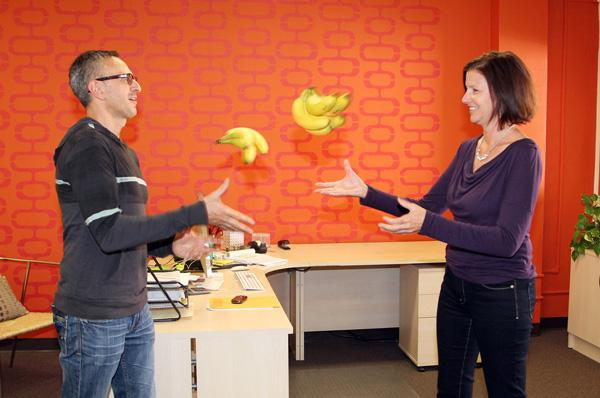 Len and Donna Romano are a team in business and life. They created Ripe Inc., a branding firm that incorporates bananas in its own brand and look.