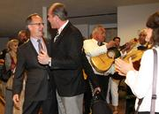 Barger with Albuquerque Mayor Richard J. Berry as a mariachi band plays during the post-flight celebration.