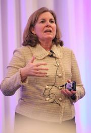 Esther L. George, president of the Federal Reserve Bank of Kansas City, addresses the conference.