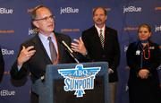 JetBlue CEO Dave Barger speaks at a press conference following the aircraft's landing at the Albuquerque International Sunport.