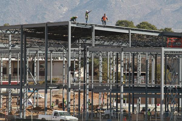 In this file photo from March, work was progressing on the 16-screen IMAX movie theater at Winrock Town  Center. Goodman Realty Group's Darin Sand said Thursday that a total buildout of Winrock is still about four to six years away.