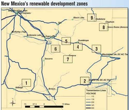 Under the LANL plan, New Mexico could build out transmission infrastructure to collect electricity from these renewable energy zones.
