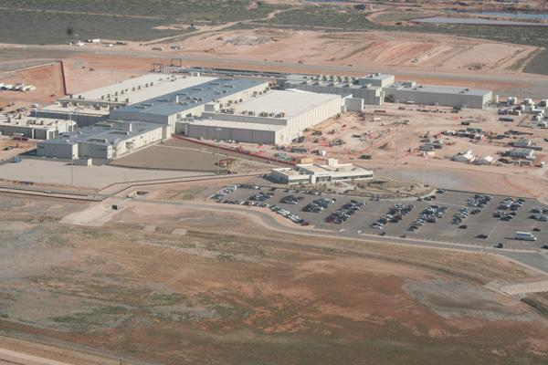 An aerial view shows the vastness of Urenco USA's $4 billion uranium enrichment facility in Lea County. County officials have worked hard to diversify the local economy, and Urenco is one of the biggest fish they've reeled in so far. The county is focused on attracting alternative energy and high-tech businesses.