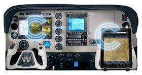 """Aspen Avionic's digital cockpit (above) will be wirelessly connected to iPads with pilot apps, thanks to the company's recently released """"Connected Panel"""" technology."""