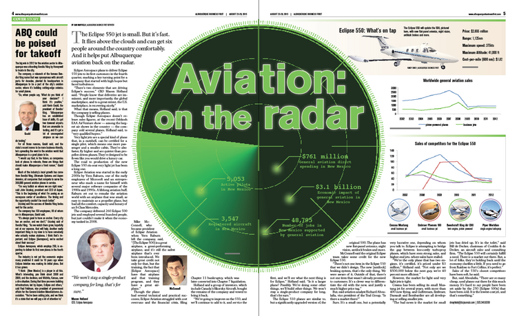 Beyond its great flying weather, Albuquerque has plenty of assets for the aviation industry, and leaders have long hoped it could become an aviation center. That effort, and one of Albuquerque's major industry players, hit some turbulence during the recession. As the economic skies clear, Albuquerque's notching some key wins. Dan Mayfield reports on aviation's progress in the Duke City.