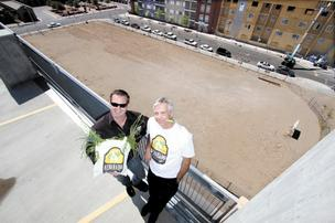 (L) Chris Goblet, deputy director of the Downtown Action Team, and Rick Rennie, incoming DAT president, at the Alvarado Urban Farm site.