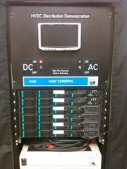 Electricity is generated from a PV parking lot array and channeled into this DC server rack, which is connected to the DC power wall outlet.