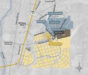 Over the next 50 to 70 years, some 37,000 homes could be built in the Mesa del Sol master-planned development in south-central Albuquerque. Map above shows existing employers and Phase I of its proposed residential build out.