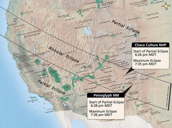 The May 20 annular eclipse passes directly over Albuquerque and other sites in New Mexico, including several national parks, before sunset on that Sunday.