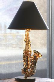A saxophone-style lamp in Albuquerque's Jazzbah