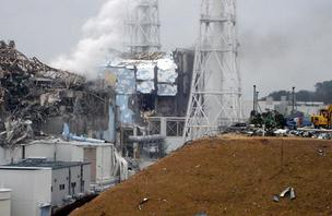 The damaged Fukushima Daiichi nuclear generating plant in Japan.