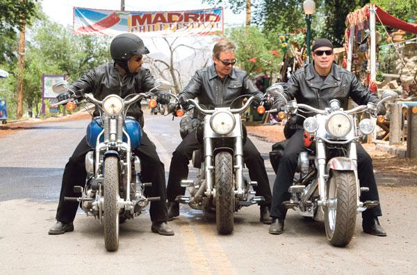 """""""Wild Hogs,"""" which starred (left to right) Martin Lawrence, Tim Allen and John Travolta, was filmed in New Mexico locales such as Madrid."""