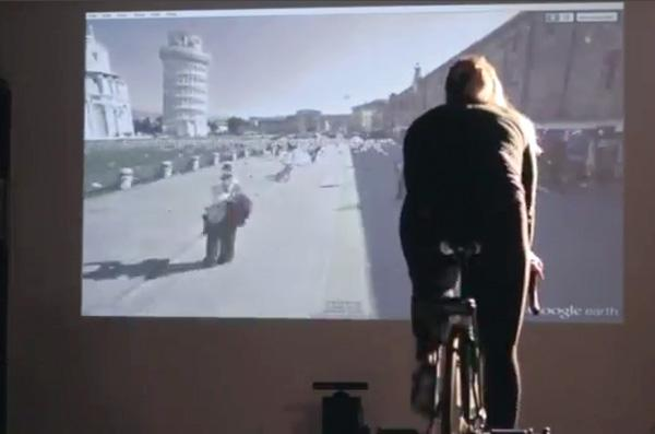 Rick Urrea of Albuquerque says he's figured out how to use a Microsoft Kinect controller and Google's Street View to make riding a stationary bike less boring. He plans to seek about $1 million in funding for his Tour de Rue software.