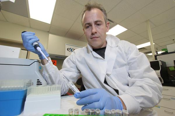In January 2011, Exagen's then Vice President and Chief Development Officer Thierry Dervieux worked with tissue samples at the company's laboratory in Albuquerque.