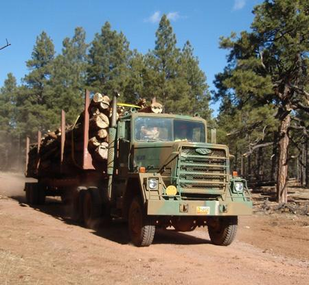A truckload of logs from the Cibola National Forest heads to the Mt. Taylor Millwork's wood pellet plant in Grants.