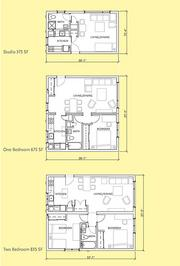 The floor plan shows how space is used within the units.