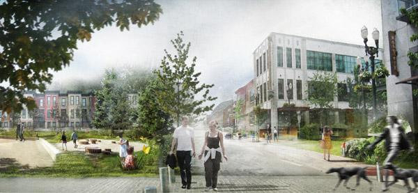 University of Oregon students created several ideas for the Gateway ecodistrict, including this rendering of a walkable neighborhood with lots of green space.