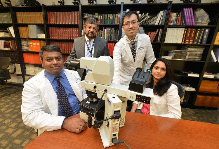 GRU researchers (from left to right), Drs. Ravindra Kolhe, Amyn Rojiani, Andy Rahardja and Puneeta Vasa,