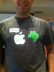 This T-Shirt at JailbreackCon captured the iOS-Android rivalry perfectly.